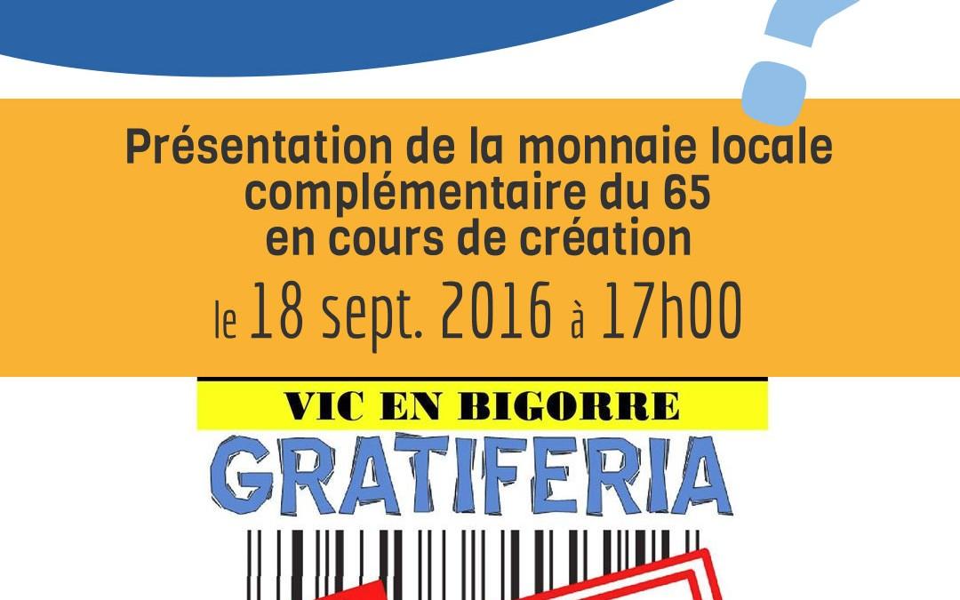 18 Sept. 2016 – Présentation lors de la Gratiferia Vic-en-Bigorre