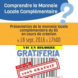18 Sept. 2016 - Présentation lors de la Gratiferia Vic-en-Bigorre @ Maison des Associations   Vic-en-Bigorre   Languedoc-Roussillon Midi-Pyrénées   France